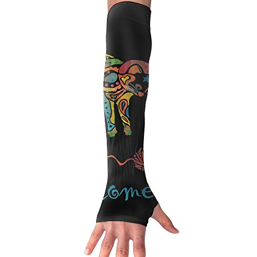Fonsisi Sunscreen Anti-UV Arm Sleeves Welcome Black Colorful Kitten Cat Compression Armguard Band Unisex Cycling Outdoor Sports Protective Hand Cover (Skin Colorful Kittens)