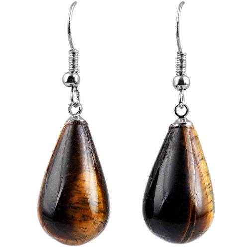 SUNYIK Tiger's Eye Stone Teardrop Dangle Earrings for Women
