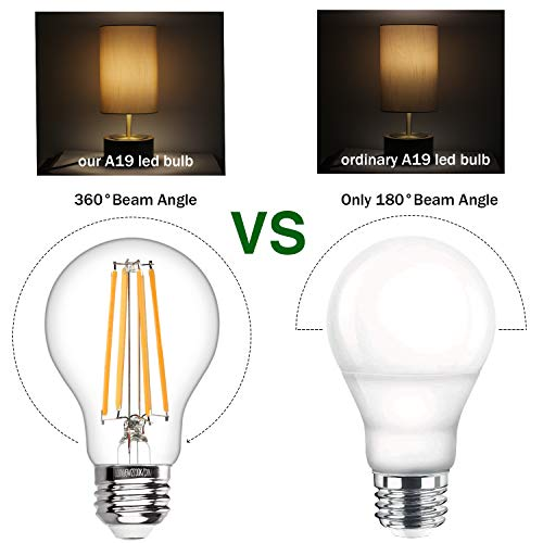 Vintage LED Edison Bulb Dimmable 6W A19 LED Light Bulbs 2700K Soft White 600LM Led Filament Bulb 60W Incandescent Equivalent E26 Medium Base Decorative Clear Glass for Home, Restaurant, Cafe, 6 Pack by Boncoo (Image #6)