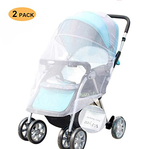 2 Pack Mosquito Net for Stroller, Stroller Cover, V-FYee Insect Bug Netting for Strollers Infant Carriers, Car Seats, Cradles, White (2 Pack)