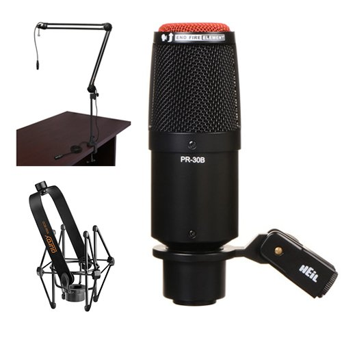 Heil Sound PR 30B Dynamic Cardioid Studio Microphone (Matte Black) with Two-Section Broadcast Arm and Microphone Suspension Shockmount by HeiL