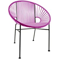 Innit Designs Concha Chair, Pink Weave on Black Frame