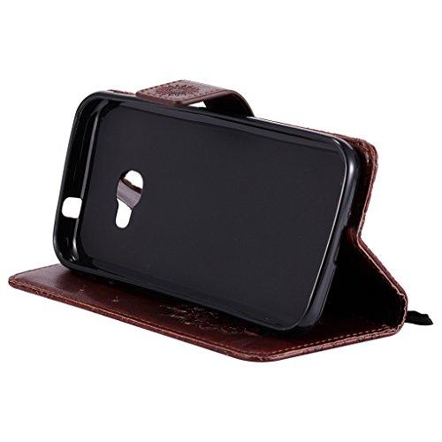 Trumpshop Smartphone Carcasa Funda Protección para Samsung Galaxy Xcover 4 (G390) [Gris] 3D Mandala PU Cuero Caja Protector Billetera Choque Absorción Marrón