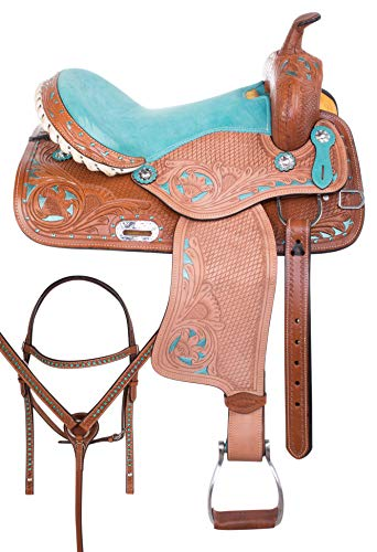 - AceRugs Barrel Racing Saddle Western Pleasure Trail Hand Carved Leather Horse TACK Headstall REINS Breast Collar (Turquoise, 14)