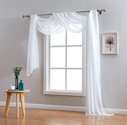 Red Co. Semi Sheer Ivory Window Scarf, 54 by 144 Inches Long, Decorative Curtain Accent Window Valance (Ivory Window Scarf)