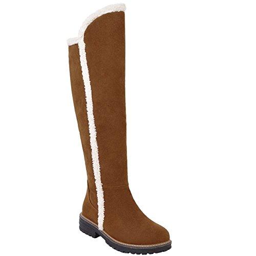Carolbar Women's Casual Warm Mid Heel Snow Over The Knee Boots Dark Yellow