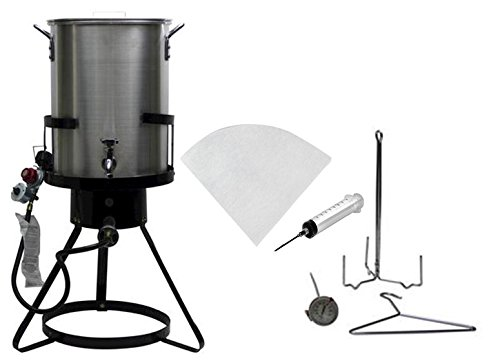 Outdoor Heavy Duty 50,000 BTU Propane 30 Quart Deep Turkey Fryer with Pot Plus Injector and Oil ()