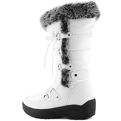 DailyShoes Frauen-Frauen-Knie-Hoch-up Warmes Pelz-Wasser-beständige Eskimostiefel Warmweiß