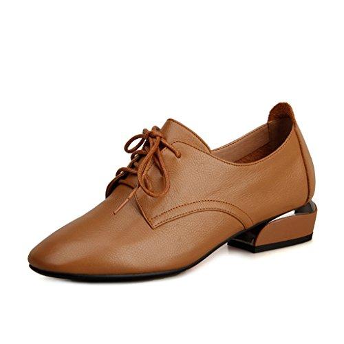 Femenino Zapatos con Boca Femeninos de de Otoño Primavera de Profunda Camello Británico Zapatos Fondo Plano Mujer Zapatos de Cuero Informal de y de Estilo Zapatos qB7qrC