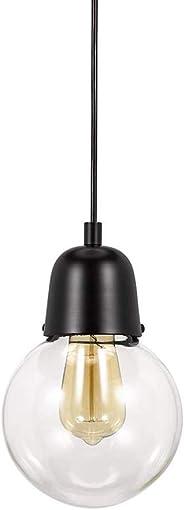 Amazon Brand Rivet Mid-Century Modern Single Glass Globe Plug-In Hanging Pendant With LED Light Bulb – 6.25 x 6.25 x 9.75 Inches, Dark Bronze