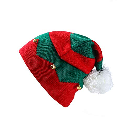 Kid Christmas Beanie Knit Hat with Pom Pom,Crytech Soft Slouchy Baggy Winter Warm Knitted Stripe Santa Snow Skull Ski Cap with Bell for 1-6 Year Baby Infant Toddler Party Accessory (Red)