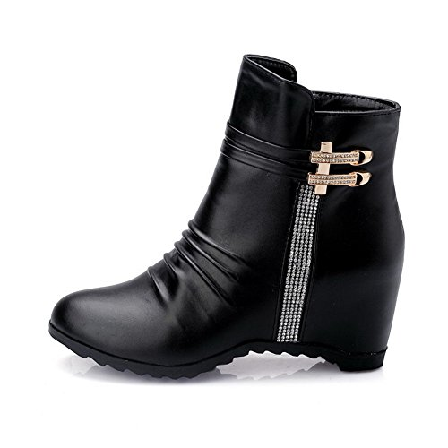 Black Kitten Zipper Closed Solid Top Boots Toe Low Round Heels AllhqFashion Womens qIT8x1wnP