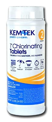 Kem-Tek 2815-6 Chlorinating Tablets 1.5-Pound with Bundle of 4-Way Water Chemistry Test Strips, 50 Count