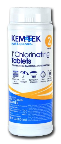 (Kem-Tek 2815-6 Chlorinating Tablets 1-Inch Pool and Spa Chemicals, 1.5-Pound)