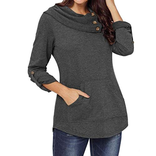 Twinsmall Women's Long Sleeve Cowl Neck Kangaroo Pocket Pullover Sweatshirt Blouse Top (S, Grey)