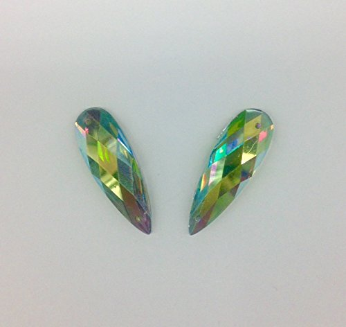 Rhinestone Peridot AB Flat Back Tear Drop 10mm x 29mm Sew on or Glue on Resin stone Gems Selling Per Pack/72 pcs by TOP TRIMMING