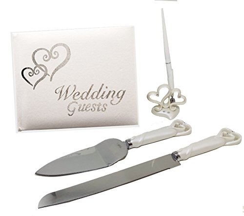 (Wedding Decorations for Reception, 4-Piece Silver and White Hearts Accessory Set Includes Guest Book, Cake Cutting Knife, Cake Server, and Guest Book Pen)