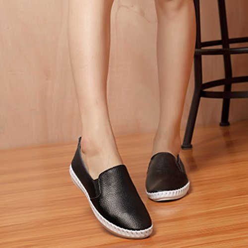 GIY Womens Casual Loafers Comfort Flats Round Toe Slip-On Walking Classic Penny Loafer Shoes Black White Black ToehjkA