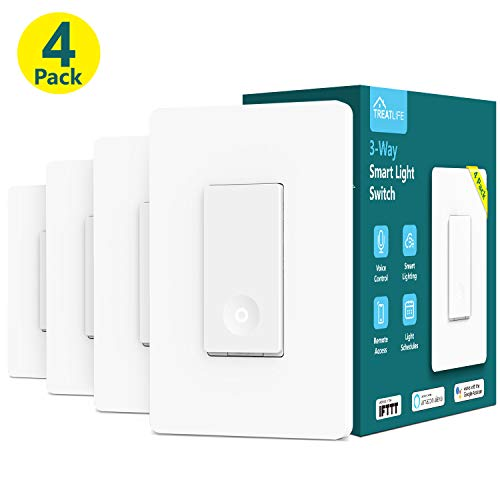 3-way Smart Light Switch, Treatlife WiFi Light Switch Single Pole/3-way Switch Compatible with Alexa, Google Assistant and IFTTT, Remote Control, ETL, Schedule, Neutral Wire Required, 4 PACK