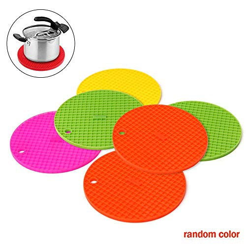CRIVERS 6pc Thick Silicone Hot Pads, CRIVERS Flexible Trivet Mat, Pot Holders, Spoon Rest, Jar Opener & Coasters, Heat Resistant Bowl Saucepan Mat, Dishwasher Safe Kitchen Pads(Assorted Colors) Dishwasher Safe Silicone Trivet