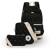 Canvas Dot Three Pieces Sets Packbag Fashion Shoulder Bag School Bag Junior Sb06 Black, Unisex
