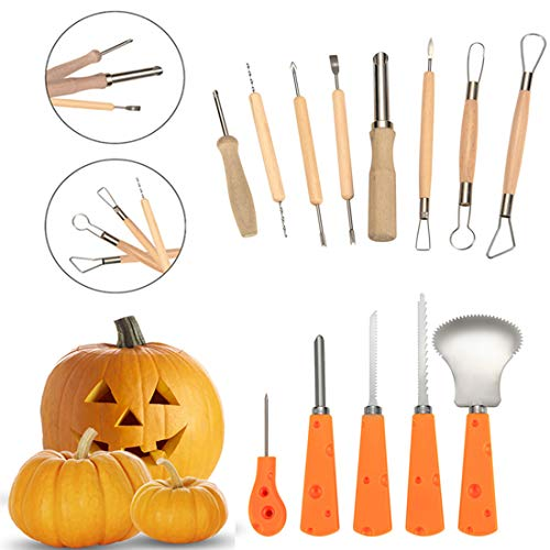 Pumpkin Carving Kit 13 Piece Sturdy Stainless Steel Pumpkin Tools For Halloween Creative Carving by Cuts, Scoops, Scrapers, Saws, -
