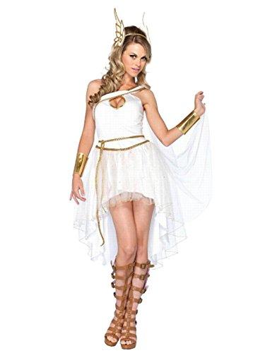 Sinastar Halloween Vienna Greek Goddness Cosplay Costume Party Ball White Fairy Dress (White)