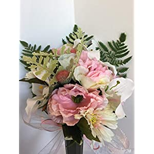 GRAVE DECOR - CEMETERY MARKER - FUNERAL ARRANGEMENT - MEMORIAL - FLOWER VASE - PINK PEONIES, WHITE & PINK LILIES, PINK HYDRANGEAS, WHITE & PINK GERBER DAISIES, AND PINK FLOWER BALLS 43