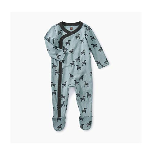 - Tea Collection Footed Romper, 3-6 Months, Woodblock Horses