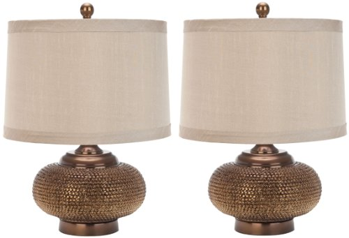 Safavieh Lighting Collection Alexis Gold Bead 19-inch Table Lamp Set of 2