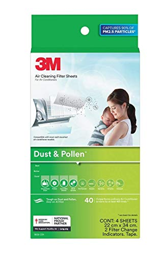 3M Filtrete AC Filters for converting Split AC into air Purifier [Dust & Pollen, 4 Sheets, 2 Change Indicators]