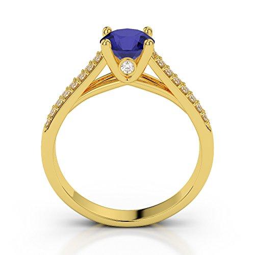 Or jaune 18carats 0,40CT G-H/VS sertie de diamants Saphir Coupe ronde et bague de fiançailles Agdr-2046