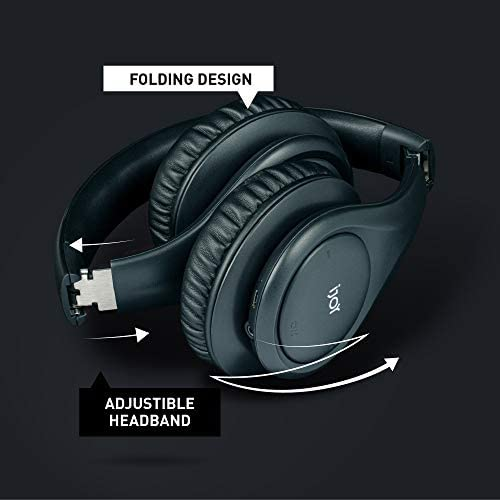 iJoy ISO Bluetooth 5.0 Wireless Over Ear Foldable Stereo Headphones with 30 Hours Battery and Built-in Microphone, Matte Black