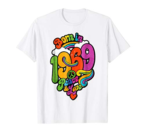 50th Birthday Gift Tshirt Born in 1969 Peace and Love Hippie