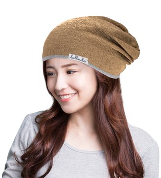Lullado Silk Satin-Lined Slouchy Beanie Warm Winter Hat in Fine Knit ... 3187fadd5bb