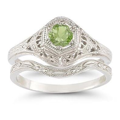 Amazon Com Antique Style Peridot Wedding Ring Set Jewelry