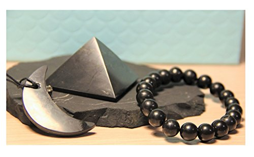 Karelian Heritage Stone Pyramid Pendants Set, Authentic Shungite from Russia (3 items) (Grams Stone Pendants)