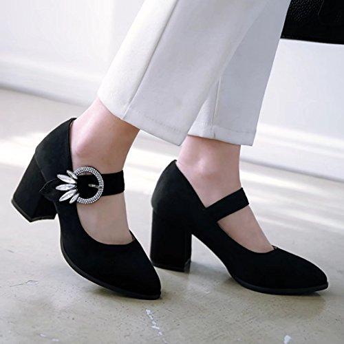 AIYOUMEI Blockabsatz Pumps mit Knöchelriemchen und 7cm Absatz Mary Jane Damenschuhe Schwarz