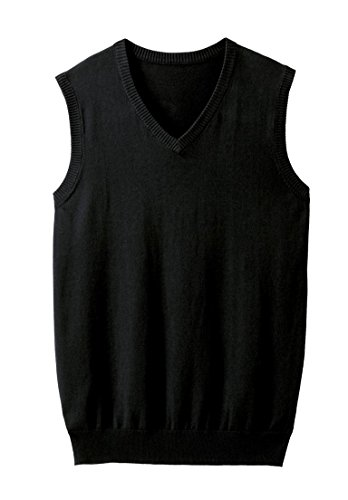 Jersey Ribbed Sweatshirt (KingSize Men's Big & Tall Lightweight V-Neck Sweater Vest, Black Big-3Xl)