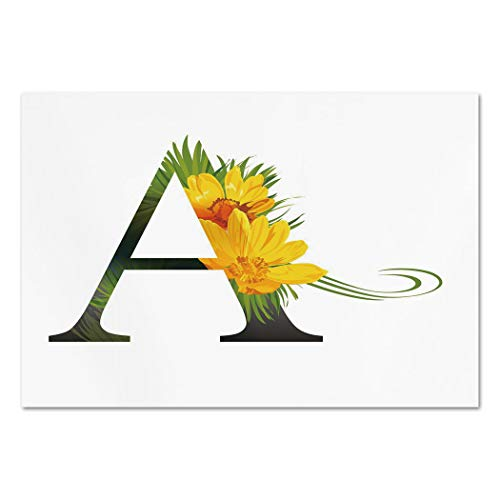 Letters Toile Wall - Large Wall Mural Sticker [ Letter A,Flowering Alphabet Design Letter and Adonisroeschen Blossoms Typography Decorative,Marigold Green Black ] Self-adhesive Vinyl Wallpaper / Removable Modern Decoratin