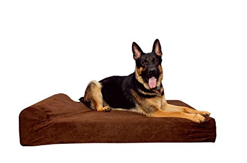 Simien Pets Dark Chocolate Extra Large Orthopedic Dog Bed, XL Waterproof Liner Included, 9'' Pillow Top Headrest, Non-Slip Bottom, Hip Dysplasia and Joint Support, Firm Highest Quality CertiPur Foam by Simien Pets