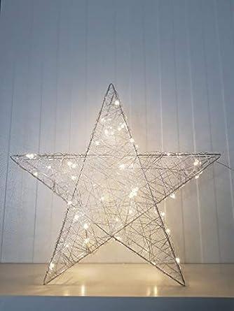 Stella Di Natale Luce.Stella Di Natale A Led 50 Cm Luce Bianca Calda 50 Led A Batteria