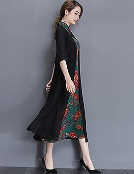 ZLL Mujer Línea A Vestido Casual/Diario Tallas Grandes Vintage,Estampado Escote Chino Midi