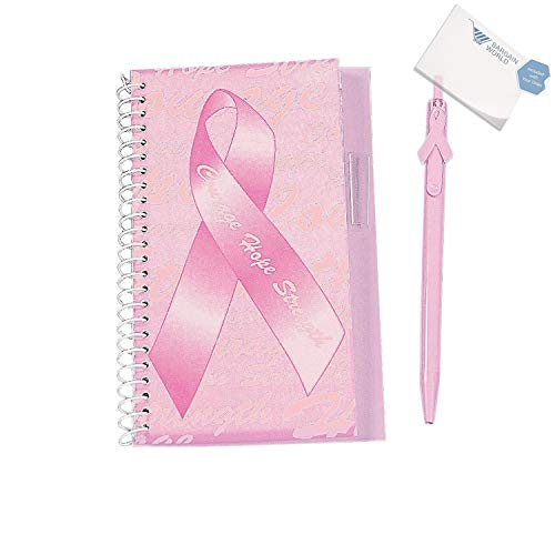 Pink Ribbon Spiral Notebook - Bargain World Pink Ribbon Courage Hope Strength Spiral Notebook & Pen Sets (With Sticky Notes)