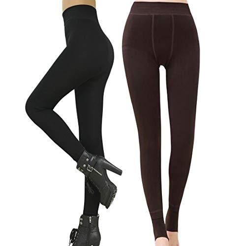 Romastory Winter Warm Women Velvet Elastic Leggings Pants Fleece Lined Thick Tights (Black+Coffee ()