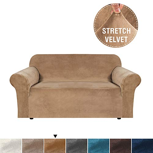 H.VERSAILTEX Real Velvet Sofa Slipcover High Stretch Rich Velvet Plush 1-Piece Sofa Cover/Loveseat Furniture Cover/Slipcover, Machine Washable, Upgraded Version Couch Cover, 2 Seater, Luggage