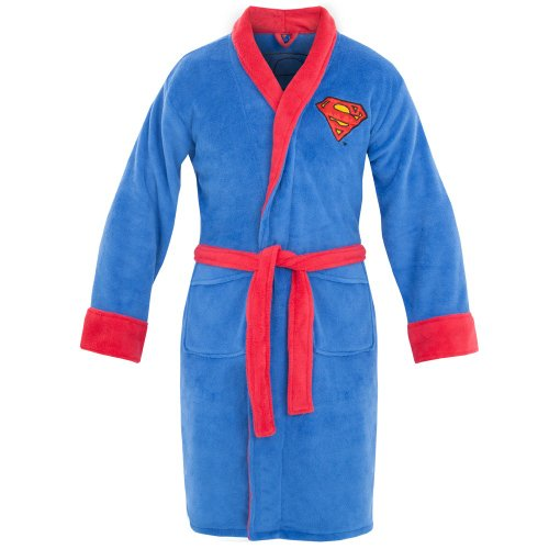DC Comics Superman Mens Fleece Bath Robe, Blue, One Size