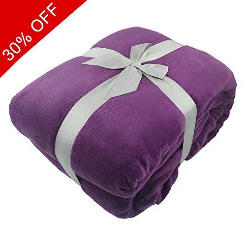 Somewhere Coral Fleece Blanket, Super Soft Cozy Lightweight Plush Luxury Polar Fleece Blanket Couch Throw, The King, Purple]()