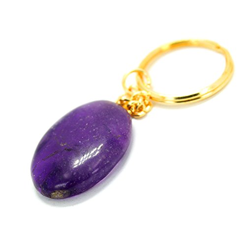Gold Tone Keychain (1 (One) Amethyst Worry stone Keychain - Gold Tone Keychain - Natural Amethyst Worrystone Keychain Rock Paradise Exclusive with COA)