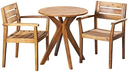 Christopher Knight Home 305029 Addison Outdoor 3 Piece Acacia Wood Bistro Set